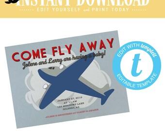 Travel Theme Boy Birthday Invitation, Airplane adventure awaits Baby Shower Invite  | 12130 Katiedid Designs