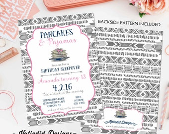 girl sleepover birthday invitation pajamas pancakes tribal arrows boho sixteen 13th pink navy gray brunch teenager | 252 Katiedid Designs