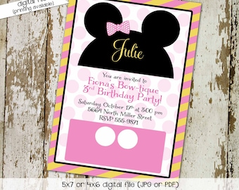 Mickey mouse birthday invitation Disney baby shower minnie girl oh toodles bowtique Diaper wipes Brunch ears theme 1st | 277 Katiedid Design