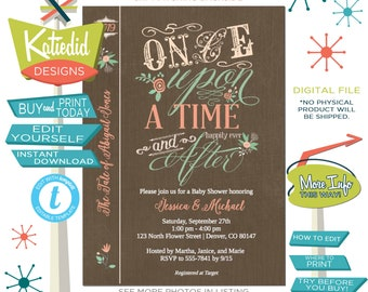 Once upon a time storybook baby shower invitation girl book cover bridal diaper mint coral bring a book library coed | 1379 katiedid designs