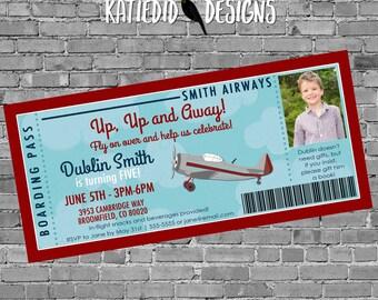 Boarding pass Birthday invitation, Adventure awaits Travel Theme baby shower vintage airplane | 226 katiedid designs