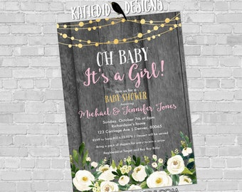 Baby shower invitation girl rustic gray pink white rose diaper wipes sprinkle sip see twins coed baptism | 1388 Katiedid