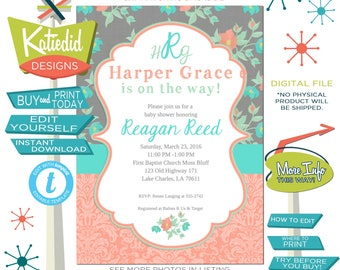 Spring Floral Baby Girl Shower Invitation, Mint Coral Gray, Twins monogram birthday bridal shower | 1335 Katiedid Designs