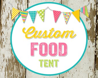 FOOD TENT to match any design for baby shower or party, digital, DIY printable file katiedid cards designs