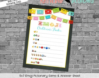 emoji pictionary children's books baby shower game fiesta gender reveal party couples coed papel picado chalkboard | 301 Katiedid Designs