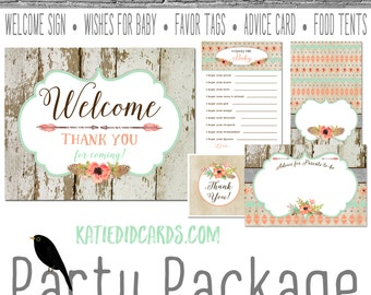 rustic baby girl shower boho tribal mint coral baby shower party package gender reveal party game welcome sign thank 1445 Katiedid designs