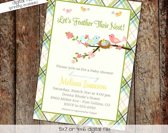 Bird nest gender reveal invitation couples baby shower coed sprinkle sip see twins neutral brunch boy feather plaid  | 1408 Katiedid designs