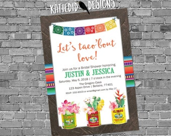 Cinco De Mayo Taco Bout Love Fiesta Invitation couples wedding shower stock the bar engagement party | 375 Katiedid Designs
