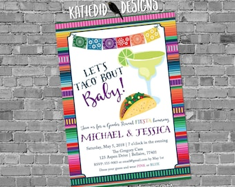 Fiesta gender reveal invitation baby shower cinco de mayo taco 'bout love margarita Papel Picado couples coed twins mexican | 1489 katiedid