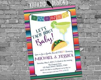 Fiesta gender reveal invitation baby shower cinco de mayo taco 'bout love margarita Papel Picado couples coed twins mexican | 1489 katiedid
