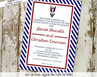 Eagle scout court of honor graduation invitation patriotic LDS announcement high school Boy teenager birthday Mormon | 602 Katiedid Card