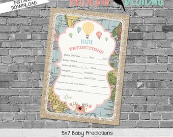 gender reveal party game travel themed baby shower co-ed diaper wipe brunch burlap world map baby predictions stats 1455 Katiedid Designs