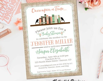 Once upon a time baby shower invitation storybook burlap lace mint green coral diaper wipes brunch girl sprinkle gay | 1366 Katiedid Designs