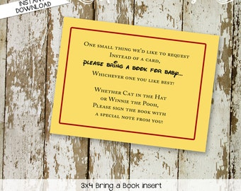 Bring a Book instead of a card enclosure card insert mickey mouse birthday invitation disney themed baby shower surprise 1406 Katiedid Cards