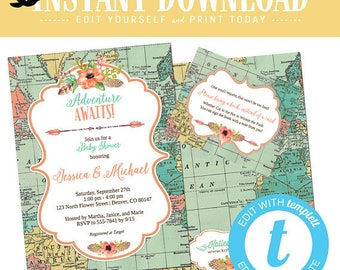 travel theme baby shower invitation adventure awaits gender reveal neutral girl couple coed sprinkle sip see twin boho chic | 1456 Katiedid