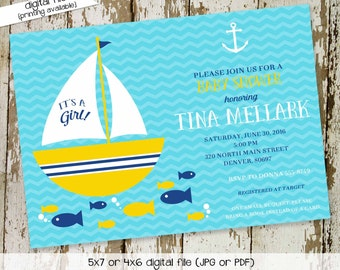 nautical baby shower invitation boy under the sea sailboat aqua yellow anchor chevron fish twins birthday couples coed | 1361 Katiedid Cards