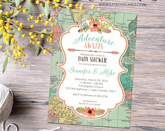 travel theme miss to mrs couples shower invitation world map BOHO floral rehearsal dinner stock the bar tribal rustic | 1456 Katiedid Design