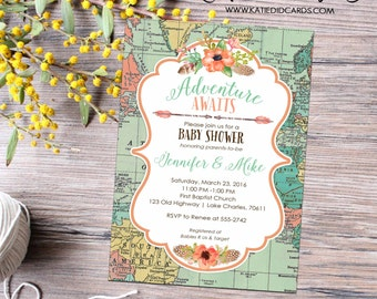 Adventure awaits baby shower invitation couples gender reveal graduation rehearsal dinner Traveling from Miss to Mrs | 1456 Katiedid Designs