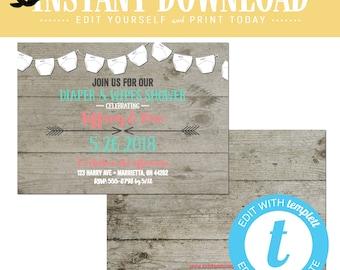 coral baby shower invitation tribal twin mint diaper wipe boho sip see gender neutral reveal couple coed rustic editable | 1417 Katiedid
