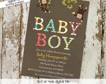 gender reveal invitation monkey boy twins couples baby shower diaper wipes brunch birthday sip see sprinkle coed gay | 121 Katiedid Designs