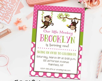 monkey couples baby shower invitation jungle safari coed sprinkle sip see birthday diaper wipes brunch girl twins LGBT | 291 Katiedid Cards