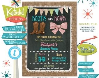 cowgirl invitation boots bows western 1st birthday burlap lace chalkboard twins sibling double brother sister butlap | 227 Katiedid Designs