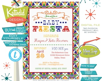 Fiesta Baby Shower Invitation Gender Neutral, Taco Bout a Baby Gender Reveal | 1424 Katiedid Designs