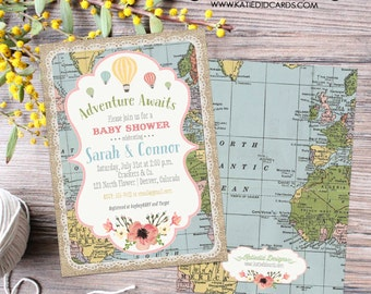 Adventure awaits Hot air balloon Travel theme baby shower invitation World map gender neutral reveal sip see oh the places | 1455 Katiedid