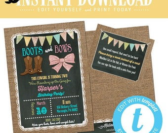 cowgirl invitation boots bows western 1st birthday burlap lace chalkboard twins sibling double brother sister butlap editable | 227 Katiedid