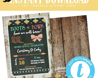 Gender reveal invitation boots or bows twin tribal baby shower cowboy western boho couples coed mint coral boy girl theme | 1439 Katiedid