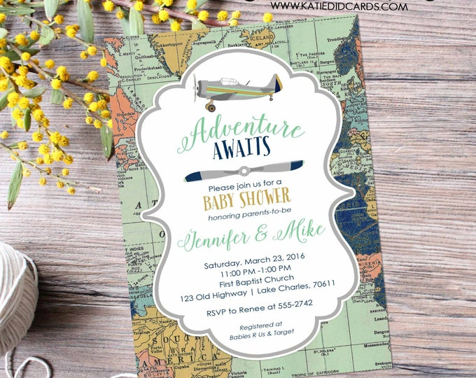 Featured listing image: Adventure awaits baby shower invitation World map Vintage Airplane Travel Theme gender neutral reveal sip and see boy | 12124 Katiedid Cards