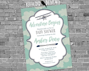 Adventure awaits couples baby shower invitation Vintage Airplane Travel Theme gender begins neutral reveal sip see boy | 1295 Katiedid
