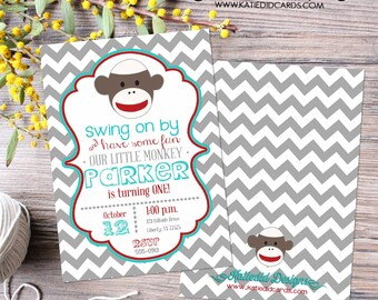 Sock monkey birthday invitation baby boy shower couples coed gray red aqua chevron sprinkle sip see twins gender reveal | 267 Katiedid Cards