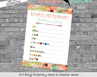 emoji pictionary children's books baby shower game tribal rustic coral mint gender reveal party couples coed arrows boho | 1445 Katiedid