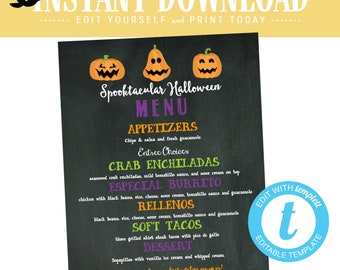 Halloween Party Menu, Fall Baby Shower, Jack o Lantern Printable Edit Instantly | Katiedid Designs