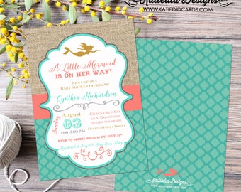 Mermaid baby shower invitation Rustic chic burlap invitation Mermaid 1st birthday party invitation Under the sea Gay | 1365 Katiedid Designs