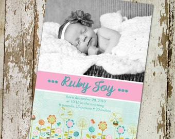 birth announcement floral pink aqua ultrasound photo newborn picture baptism pregnancy girl twins couples sprinkle sip see | 431 Katiedid