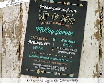 Tribal boy baby shower invitations Rustic shower invitations gender neutral Co-ed sip and see invitation First communion Gay | 1259 Katiedid