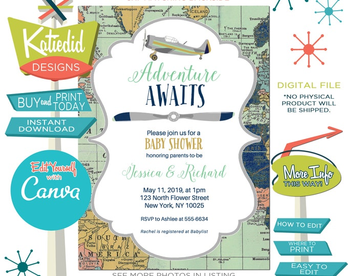 Featured listing image: Adventure awaits baby shower invitation World map Vintage Airplane Travel Theme gender neutral reveal sip and see boy   12124 Katiedid Cards