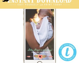 Snapchat geofilter Tribal baby shower invitation couples Boho mint coral diaper gender reveal neutral girl sprinkle sip see | 1445 Katiedid