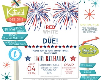 Red White and Due Gender Reveal Invitation, 4th of July Couples Baby Shower, Firecrackers BBQ Birthday Party | 1478 Katiedid Designs