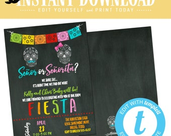 Fiesta gender reveal invitation baby shower cinco de mayo senor senorita twin birthday brother sister double couple coed gay | 1460 Katiedid