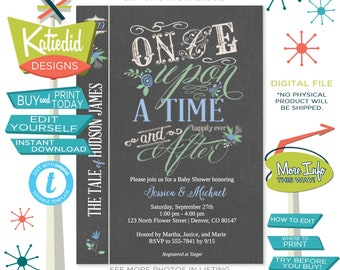 once upon a time baby shower invitation storybook couples library theme coed book brunch boy sprinkle sip see mint blue gray | 1228 katiedid