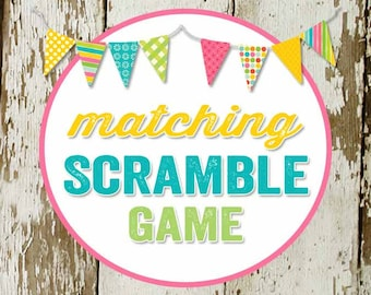 SCRAMBLE GAME baby words to match any invitation for baby shower or bridal shower, digital, DIY printable file katiedid designs
