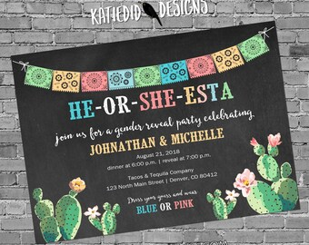 Cinco de Mayo Gender reveal invitation Fiesta couples baby shower twins coed cactus mexican southwest | 1490 katiedid designs