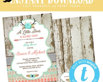 woodland baby girl shower invitation couples boho chic tribal rustic little deer antler floral coed diaper wipe editable gay | 1382 Katiedid