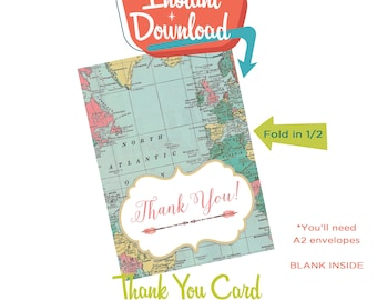 Wedding Thank You folded notecard, Adventure Awaits World Map tribal floral aqua and pink | 370 Katiedid designs