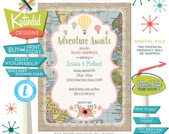 Baby Shower Invitation Gender Neutral, Hot Air Balloon Travel Theme Gender Reveal, Editable | 1455 Katiedid Designs