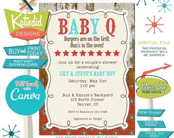 Cowboy Gender Reveal Invitation, Country BBQ Couples Baby Shower, Gender Neutral Print and Edit Yourself |  1220 Katiedid Cards