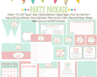 mint coral invite surprise gender reveal floral chic invite co-ed baby shower party package gender reveal party game 1353 katiedid designs